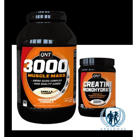 QNT 3000 MUSCLE MASS + QNT CREATINE MONOHYDRATE 300g